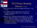 2012 project ranking process continued