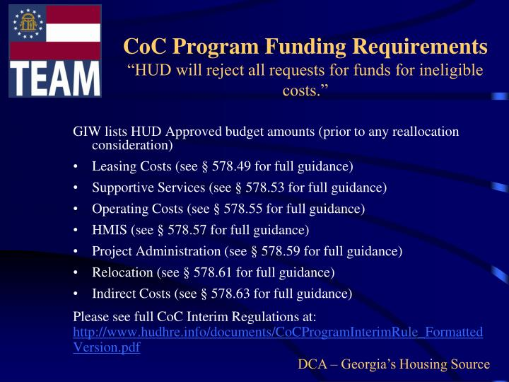 CoC Program Funding Requirements