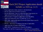 each 2012 project application should include see nofa pp 24 25