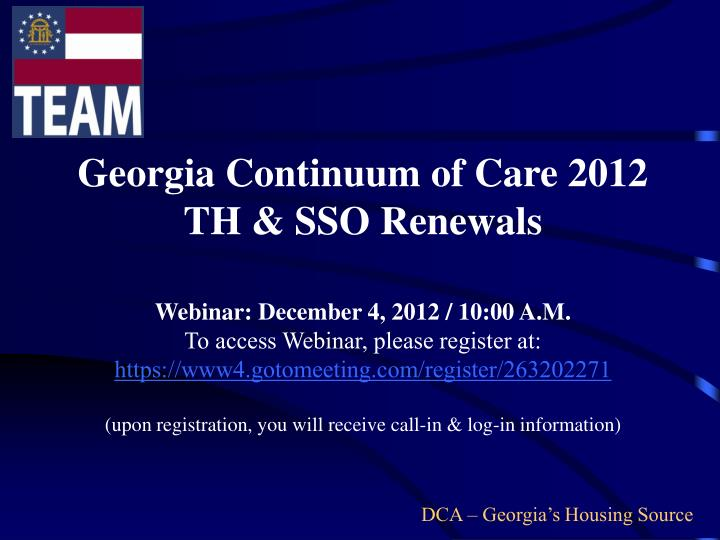 Georgia Continuum of Care 2012