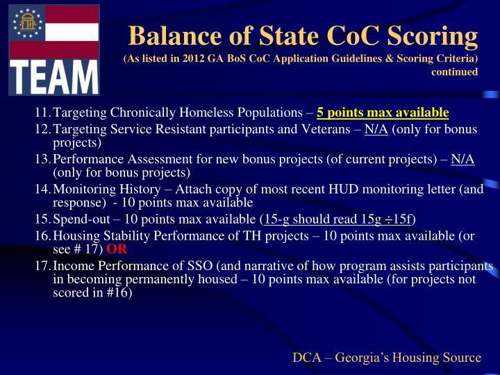 Balance of State CoC Scoring