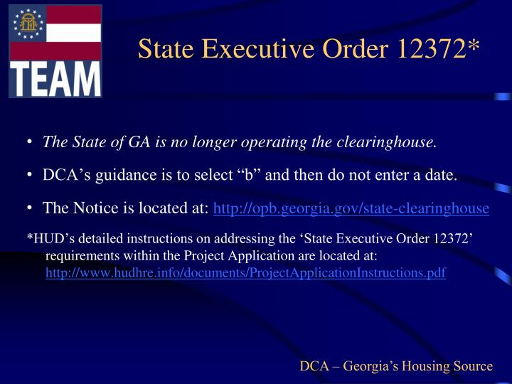 State Executive Order 12372*