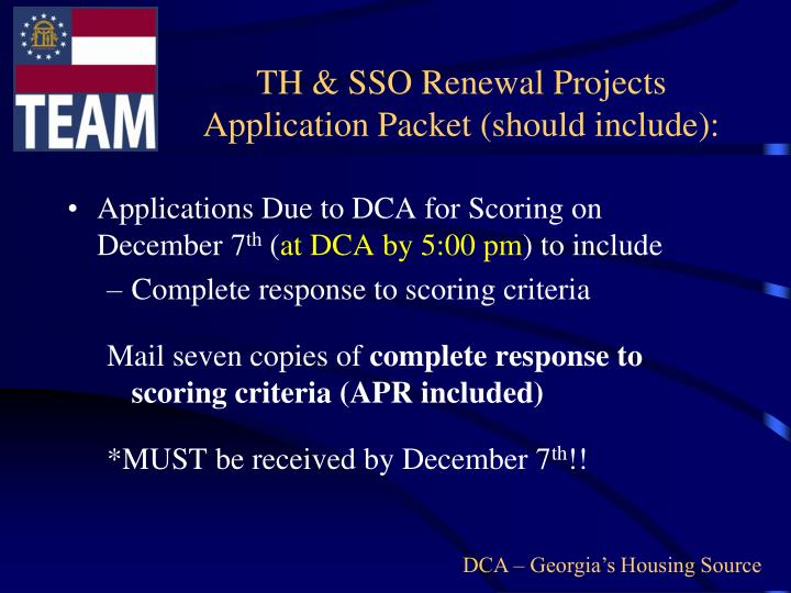 TH & SSO Renewal Projects Application Packet (should include):