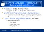 programming languages procedural event driven and object oriented