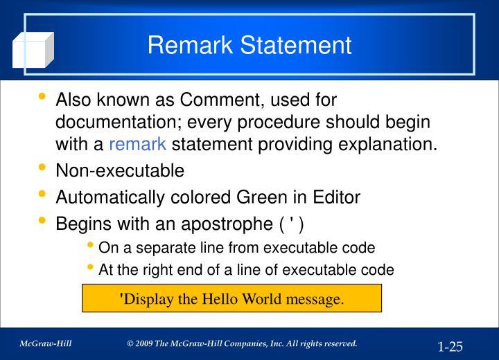 Remark Statement