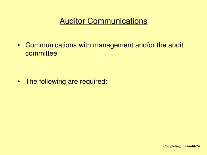 Auditor Communications