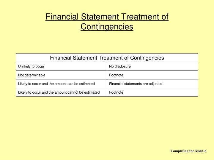 Financial Statement Treatment of Contingencies