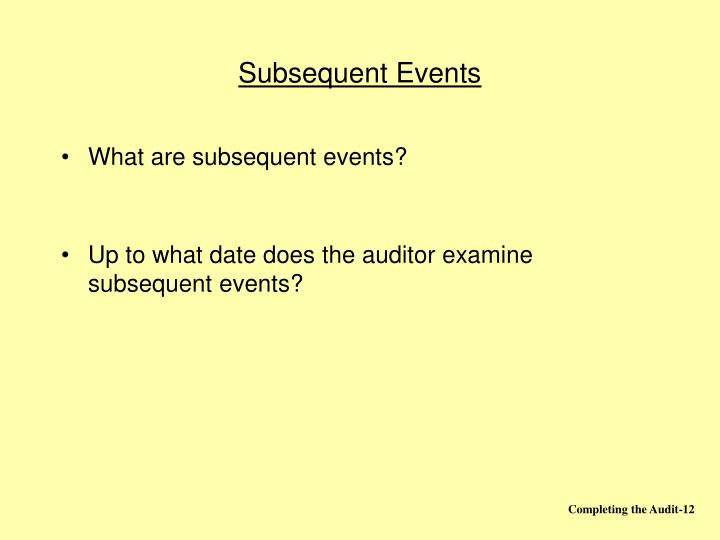 Subsequent Events
