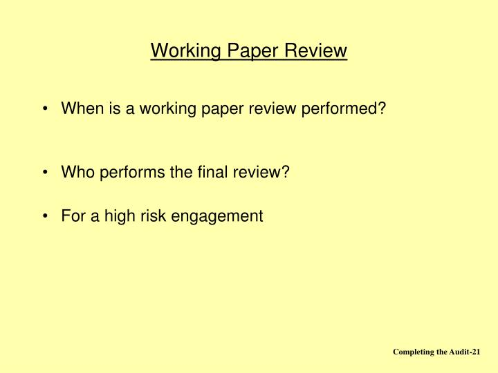 Working Paper Review