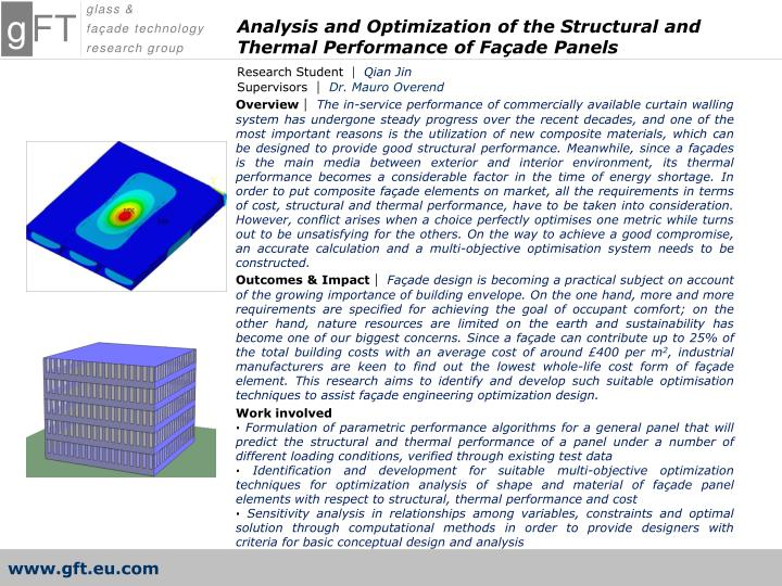 Analysis and Optimization of the Structural and Thermal Performance of Façade Panels