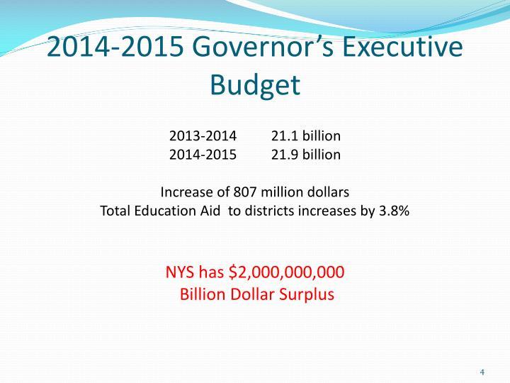 2014-2015 Governor's Executive Budget