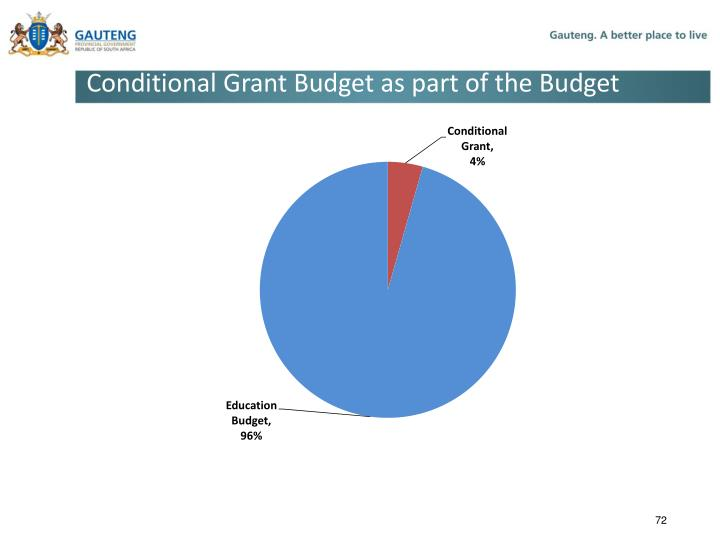 Conditional Grant Budget as part of the Budget