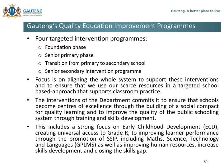 Gauteng's Quality Education Improvement Programmes