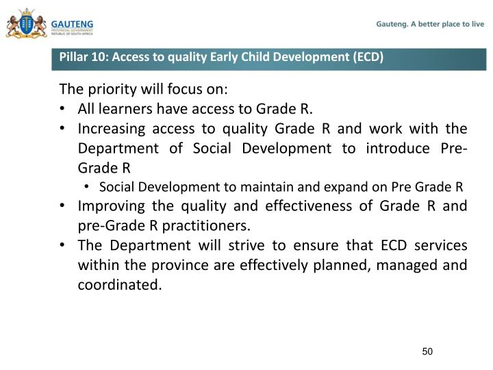 Pillar 10: Access to quality Early Child Development (ECD)