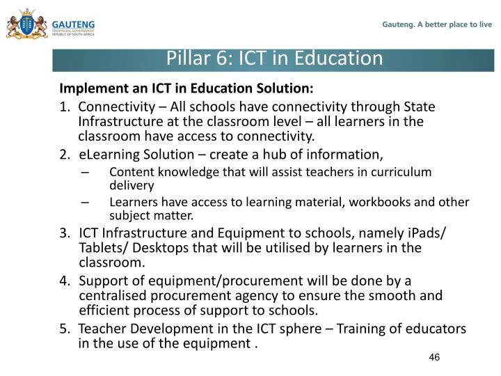 Pillar 6: ICT in Education