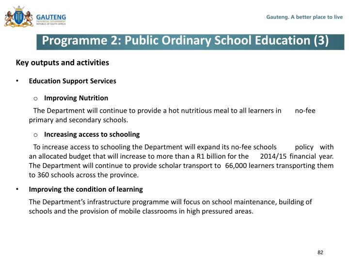 Programme 2: Public Ordinary School Education (3)