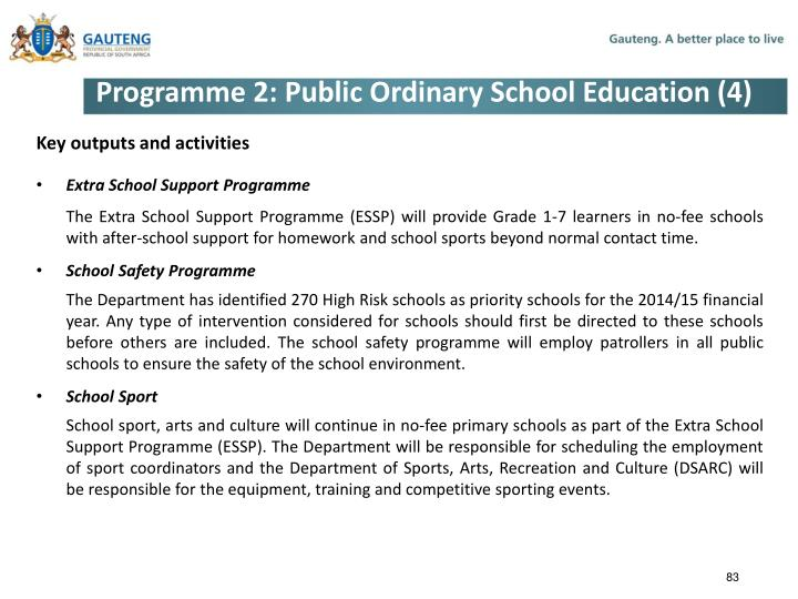 Programme 2: Public Ordinary School Education (4)