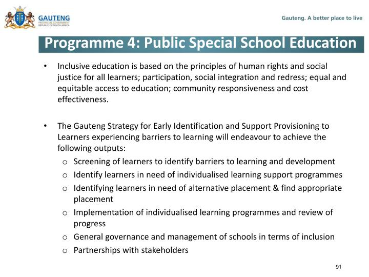 Programme 4: Public Special School Education