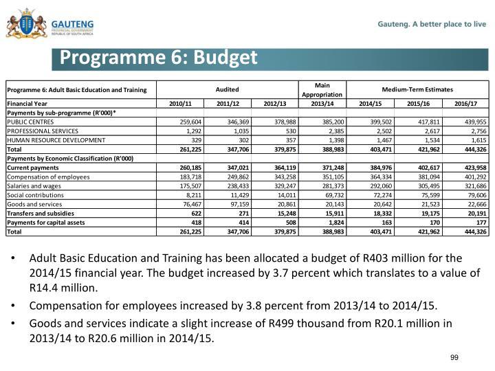 Programme 6: Budget
