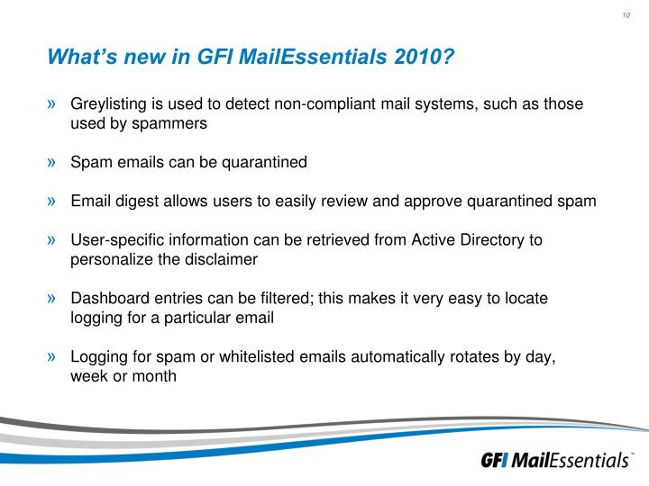 What's new in GFI MailEssentials 2010?