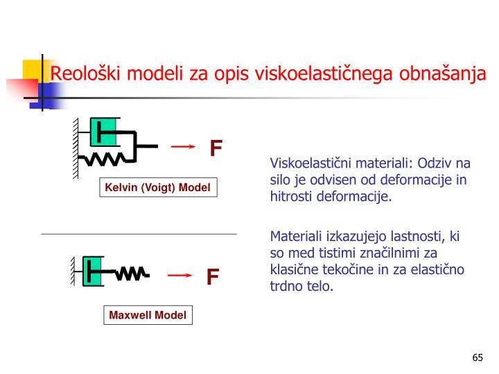 Reološki modeli za opis viskoelastičnega obnašanja