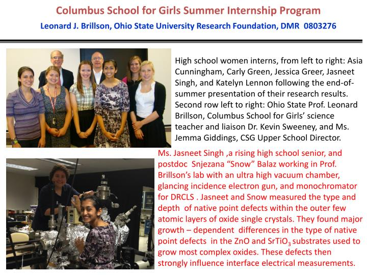 Columbus School for Girls Summer Internship Program