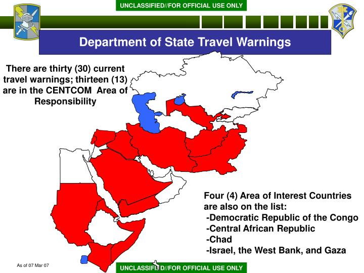 Department of State Travel Warnings