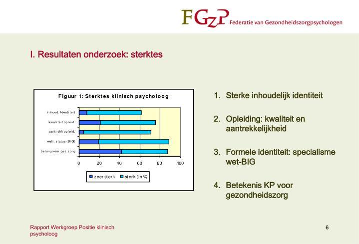 I. Resultaten onderzoek: sterktes