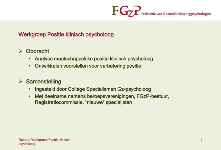 Werkgroep Positie klinisch psycholoog