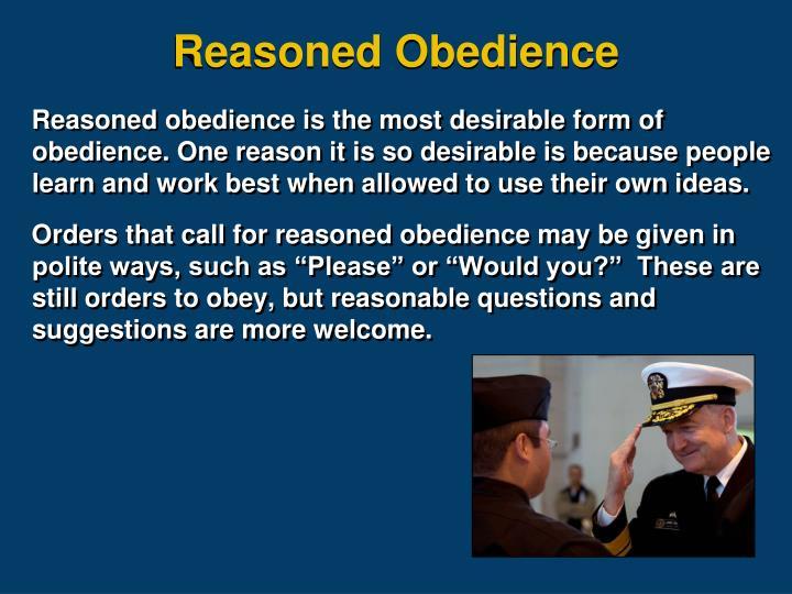Reasoned Obedience