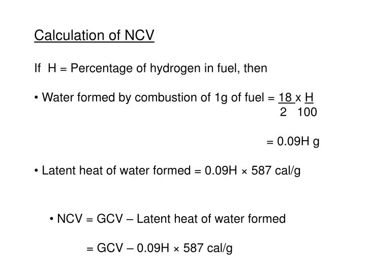 Calculation of NCV