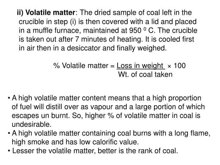 ii) Volatile matter