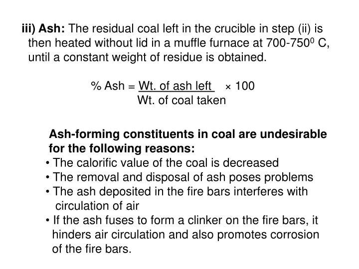 iii) Ash: