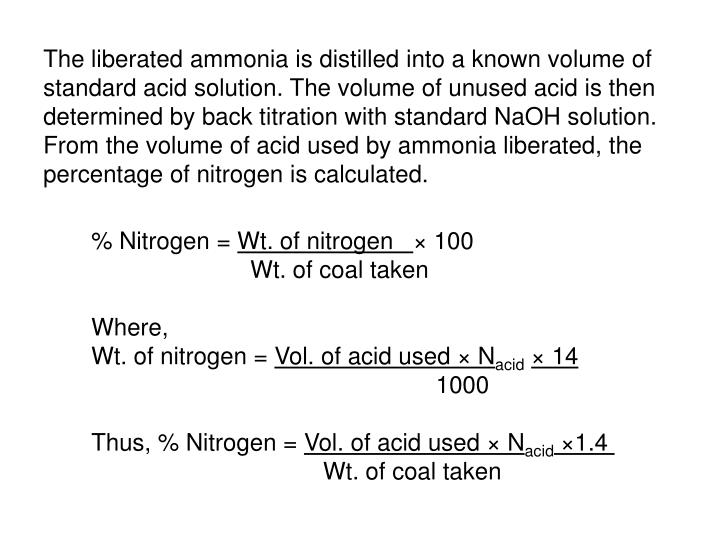 The liberated ammonia is distilled into a known volume of