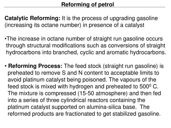Reforming of petrol