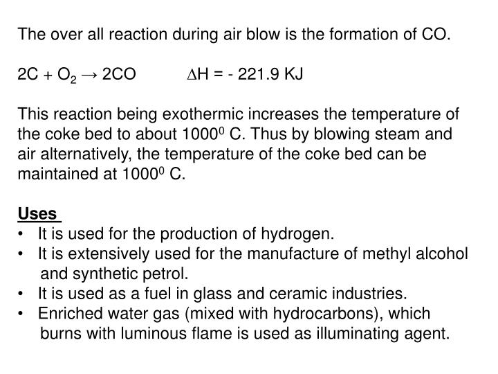The over all reaction during air blow is the formation of CO.
