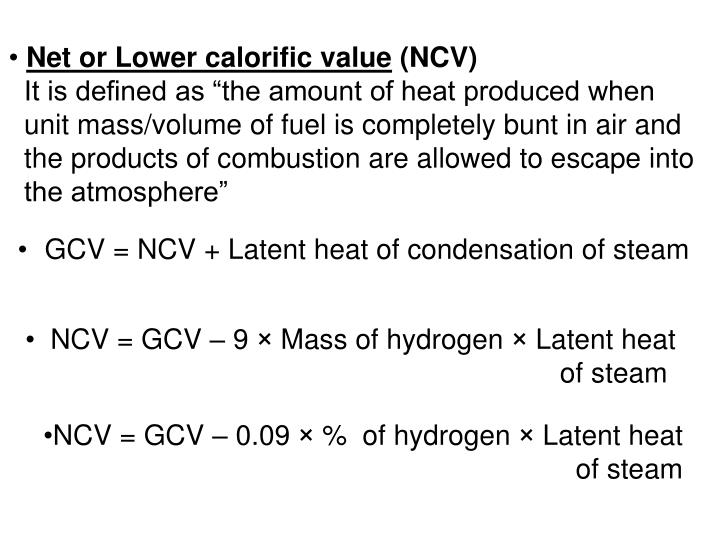 Net or Lower calorific value