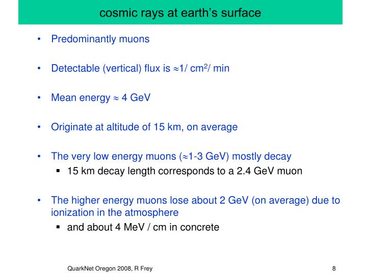 cosmic rays at earth's surface