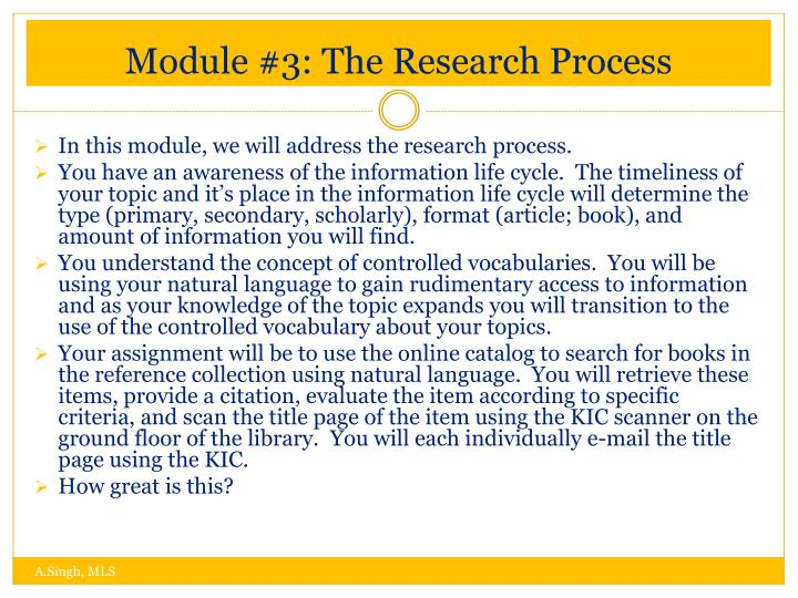 Module #3: The Research Process
