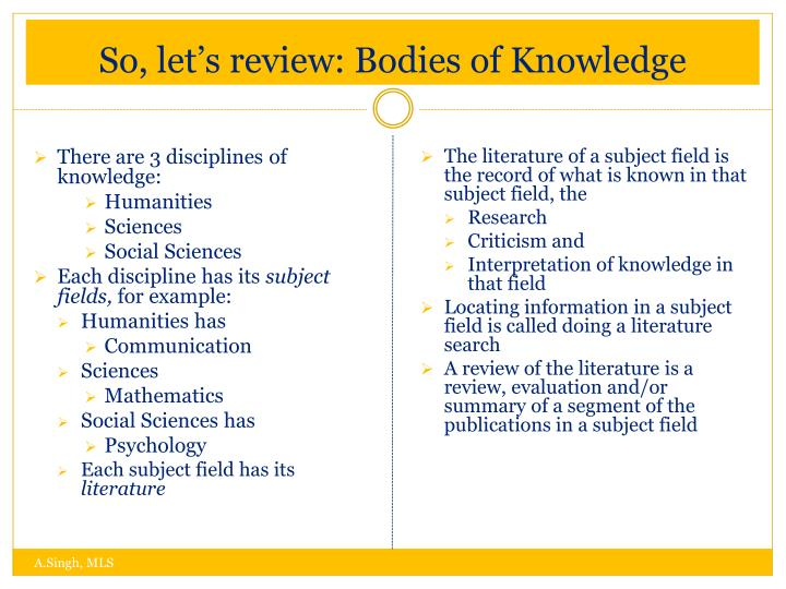 So, let's review: Bodies of Knowledge