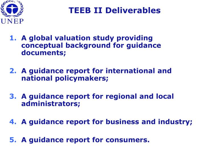 TEEB II Deliverables