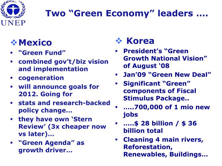 "Two ""Green Economy"" leaders …."
