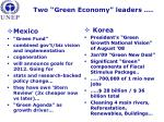 two green economy leaders