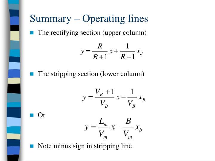 Summary – Operating lines