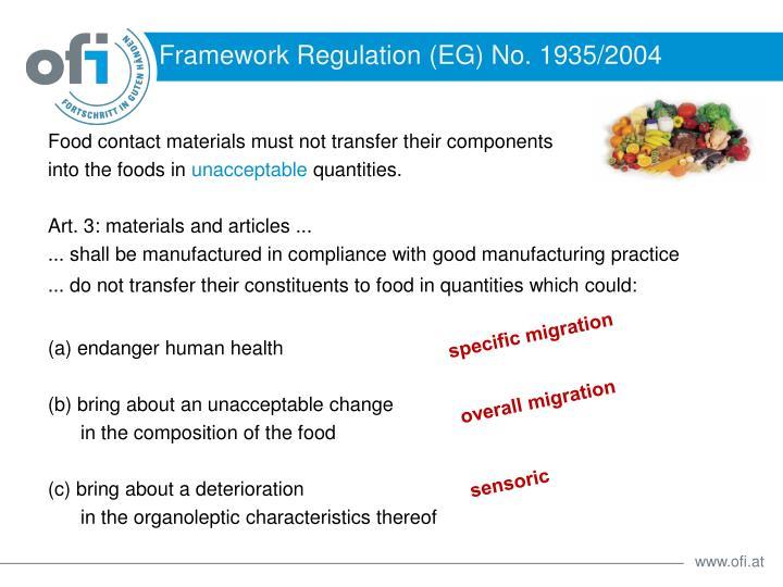 Framework Regulation (EG) No. 1935/2004