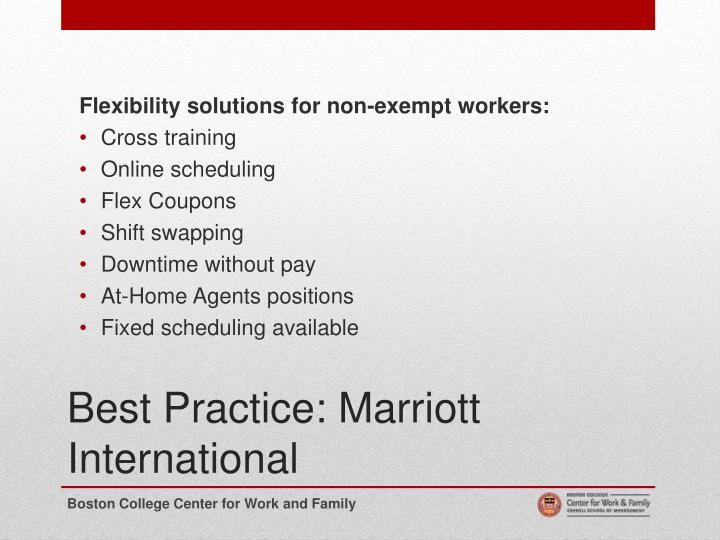 Flexibility solutions for non-exempt workers: