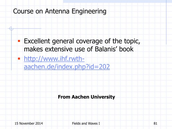 Course on Antenna Engineering