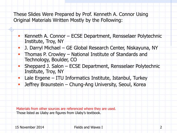 These Slides Were Prepared by Prof. Kenneth A. Connor Using Original Materials Written Mostly by the Following: