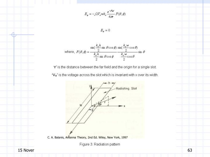 C. A. Balanis, Antenna Theory, 2nd Ed. Wiley, New York, 1997