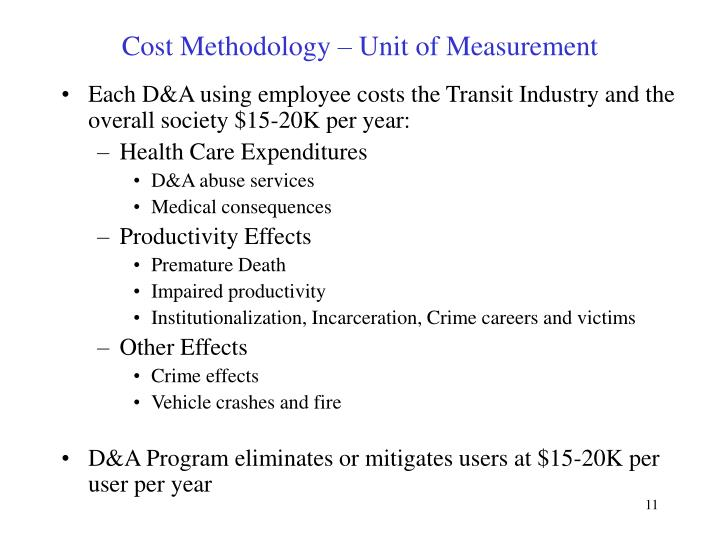 Cost Methodology – Unit of Measurement